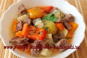 говядина с картошкой и овощами в мультиварке