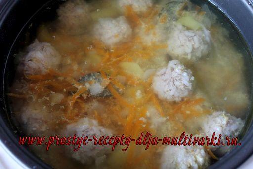 Суп с фрикадельками в мультиварке