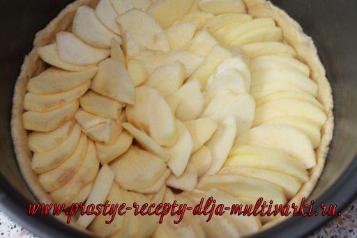 Открытый яблочный пирог в мультиварке
