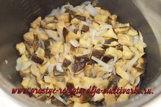 картошка с грибами и курицей в мультиварке