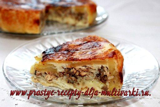 Пирог с рыбой в мультиварке