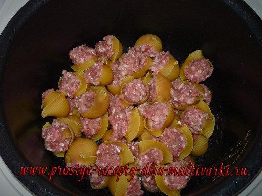 Фаршированные макароны ракушки с фаршем в мультиварке рецепт с фото