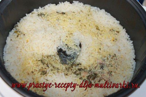 Рис с рыбой в мультиварке