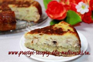 Пирог с курицей и картошкой в мультиварке