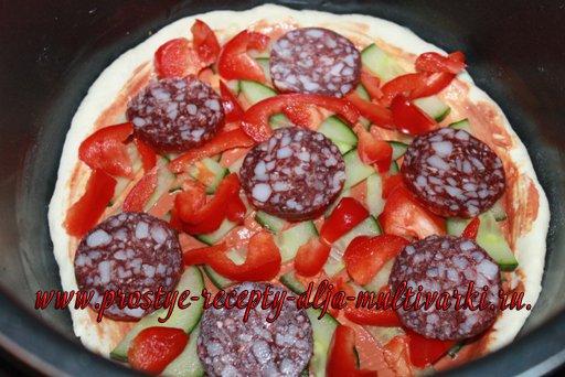 Пицца с салями в мультиварке, в скороварке