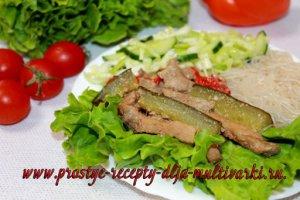 Мясо с огурцами рецепт