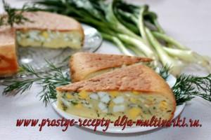 Пирог с яйцами в мультиварке