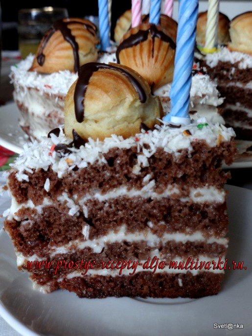 Простой шоколадный торт в мультиварке