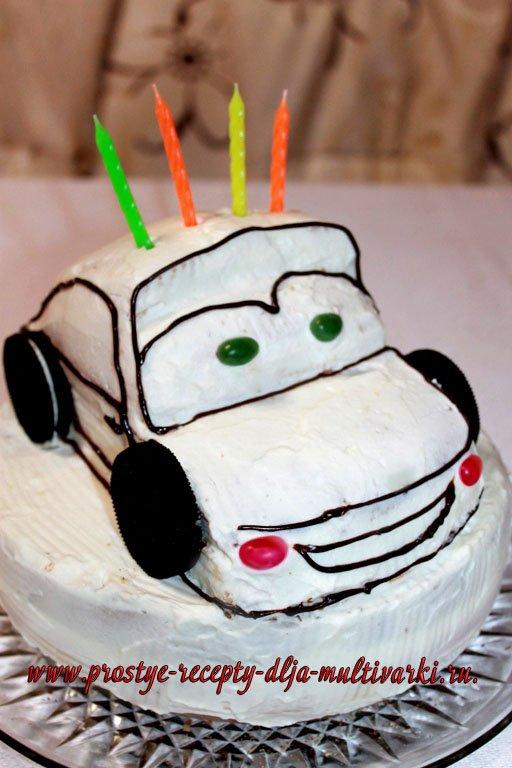 Торт в виде машинки. Пошаговый рецепт с фото.