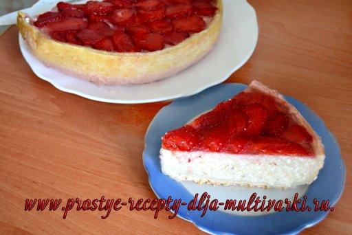 Пирог с творогом в мультиварке с клубникой рецепты
