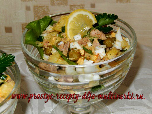 Вкусный салат с печенью трески