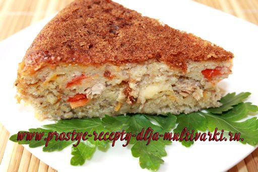 Рыбный пирог с паприкой в мультиварке