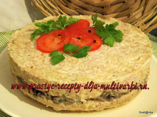 Вкусный мясной хлебец с грибами и вермишелью в мультиварке