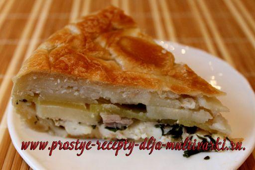 Пирог с курицей в мультиварке