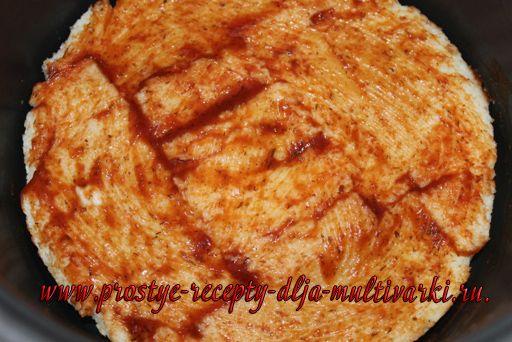 Быстрая пицца из хлеба в мультиварке