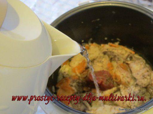 Жаркое с узбекской лепёшкой в мультиварке
