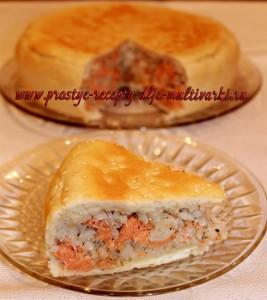 Дрожжевой пирог с семгой в мультиварке
