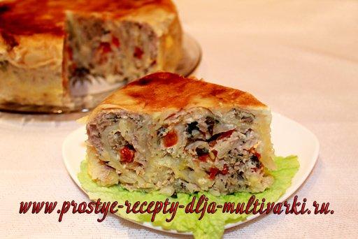 пирог из лаваша с фаршем в мультиварке
