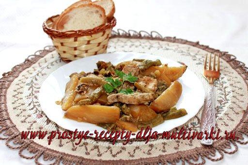 Картошка с мясом в мультиварке-скороварке