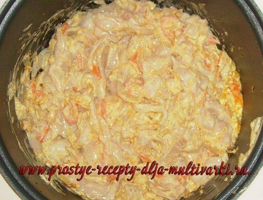 Кальмары в сливочном соусе в мультиварке