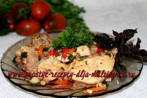 Курица с овощами тушеная в мультиварке
