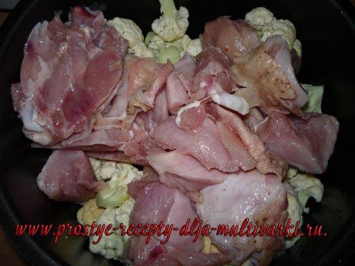Курица с цветной капустой в мультиварке - скороварке