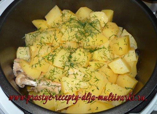 Картофель с курицей в мультиварке-скороварке