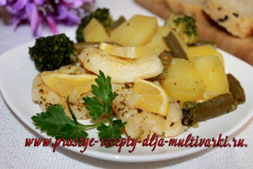 Рыба на пару с овощами в мультиварке, в скороварке