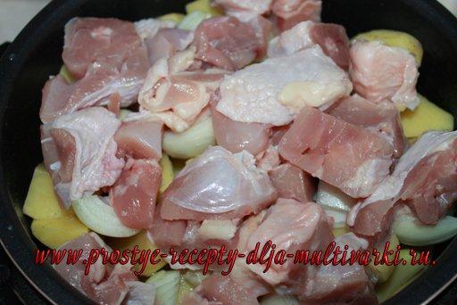 Картошка с курицей и грибами в мультиварке – скороварке