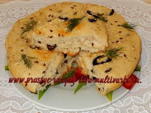 Фокачча с маслинами в мультиварке