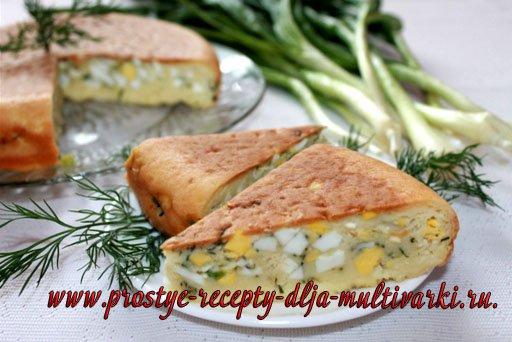 Пирог с яйцами и зеленым луком. Пошаговый рецепт с фото.