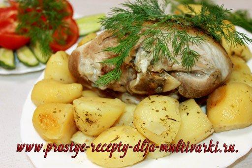 Рулька с картошкой в мультиварке – скороварке рецепт
