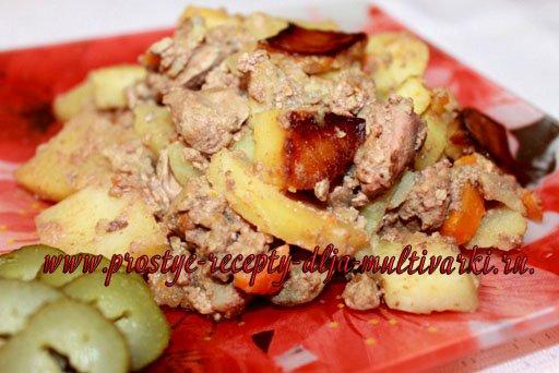 Картошка с печенью в мультиварке