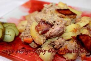 Картофель с куриной печенью