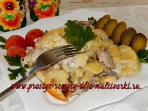 Свинина с грибами и картофелем